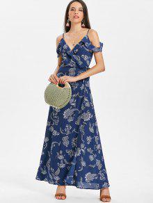 فستان بطبعات بيسلي باكتاف مكشوفة - أزرق M