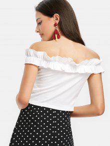 Hombros Blanco Volantes Camiseta S Con Sin 5wnBqR