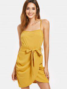 فستان كامي بحزام - أصفر فاقع S