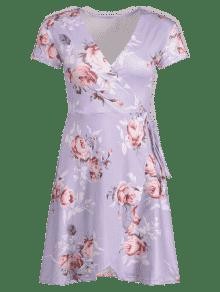 Pliegues De Vestido De Estampado Con Flores L Color De Malva qSXZEw