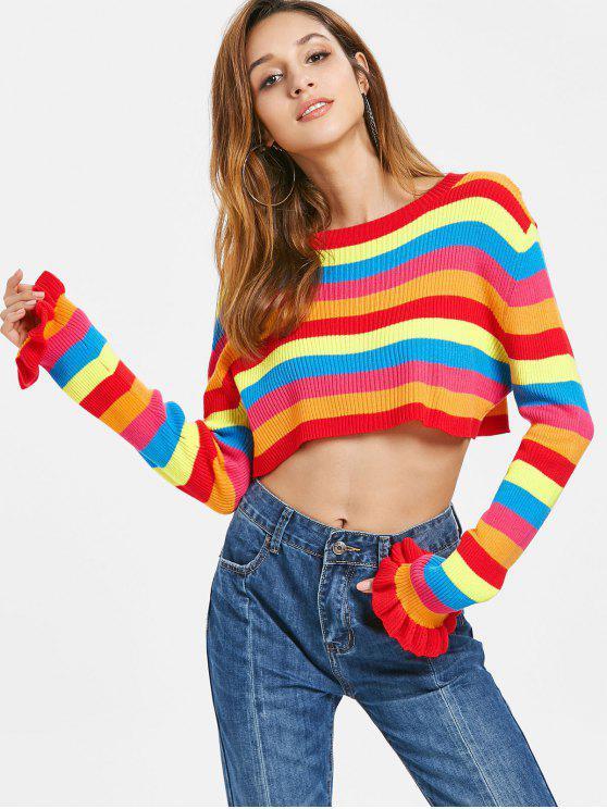 best Rainbow Stripes Crop Sweater - MULTI S