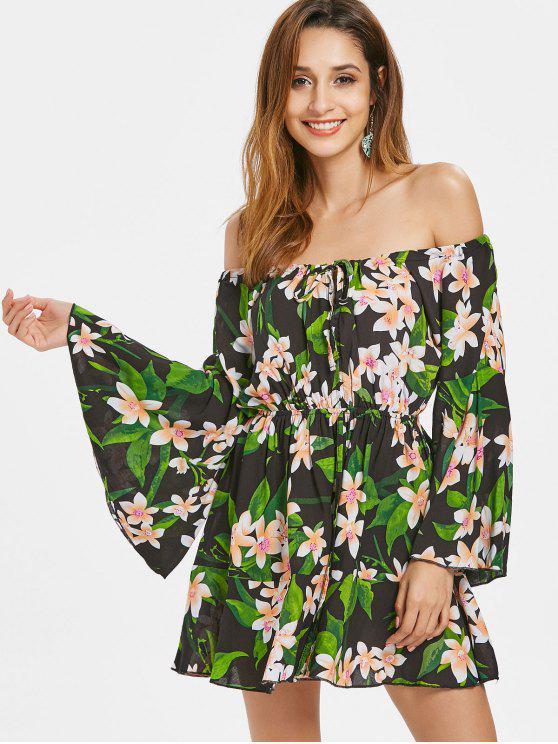56ced9e40213 34% OFF  2019 Floral Bell Sleeve Off Shoulder Dress In BLACK