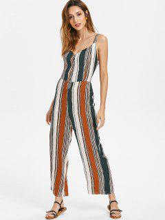 Knotted Back Striped Jumpsuit - Multi S