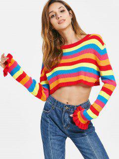 Rainbow Stripes Crop Sweater - Multi M