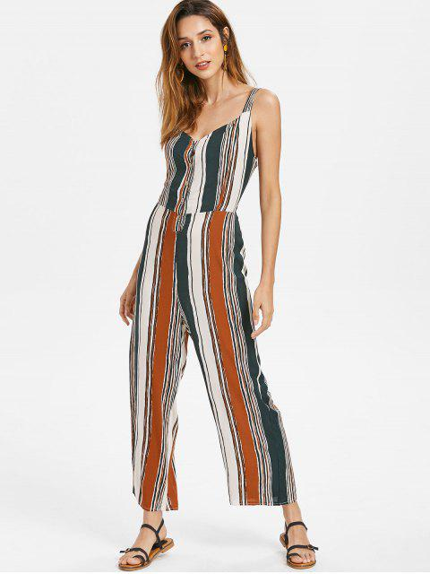 lady Knotted Back Striped Jumpsuit - MULTI M Mobile