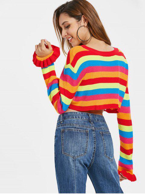 online Rainbow Stripes Crop Sweater - MULTI L Mobile