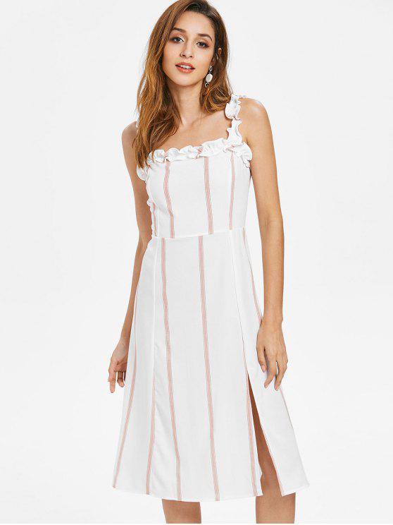 fancy Striped Ruffle Straps Dress - WHITE S