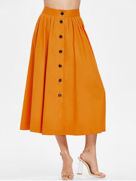 Button Up Jupe longueur de thé - Cantaloup M