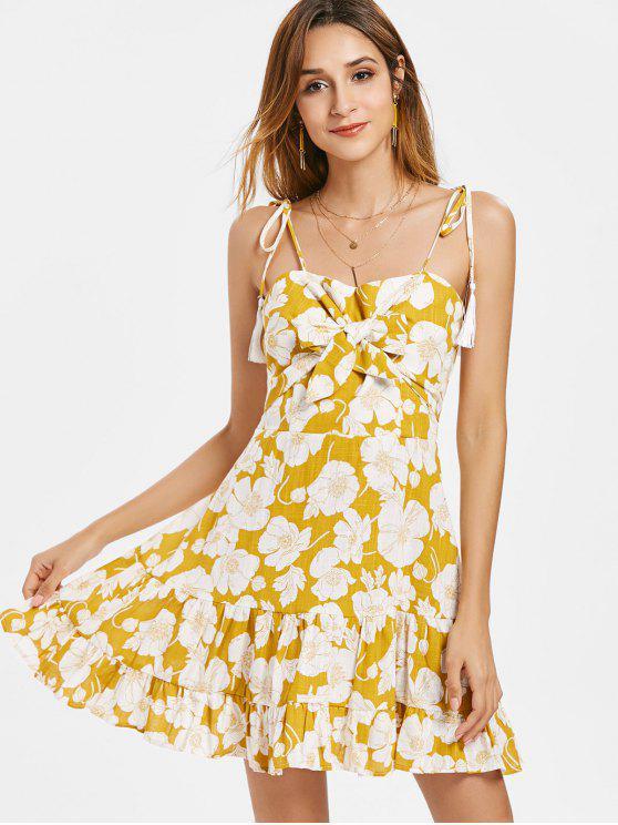 hot Knotted Flower Print Cami Dress - GOLDEN BROWN M