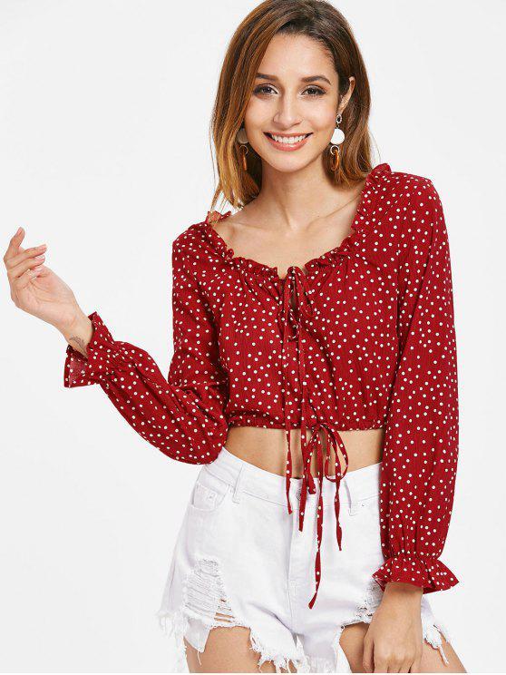 Drawstring Dots Top - Rojo Cereza L