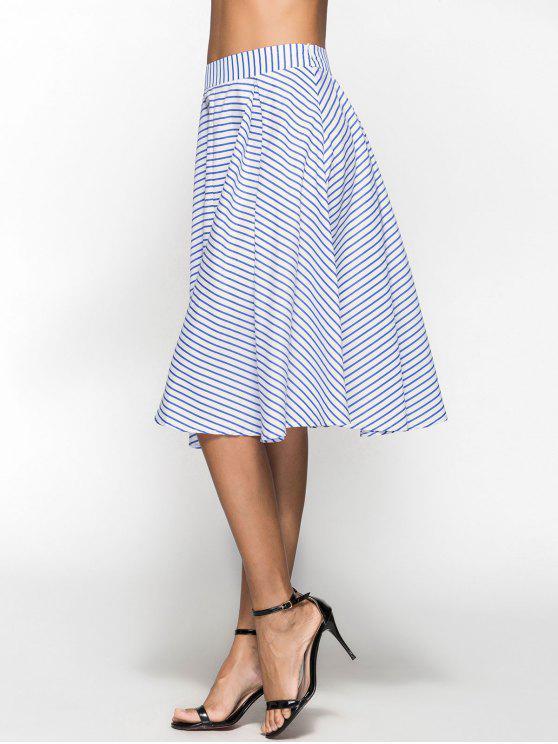 chic Striped Box Pleat Midi Full Skirt - BLUE XL