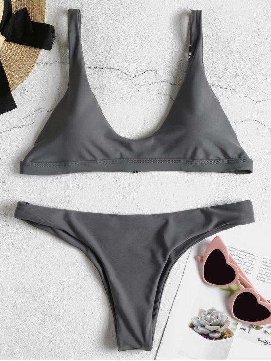 online Padded Bralette Bikini Set - BATTLESHIP GRAY S