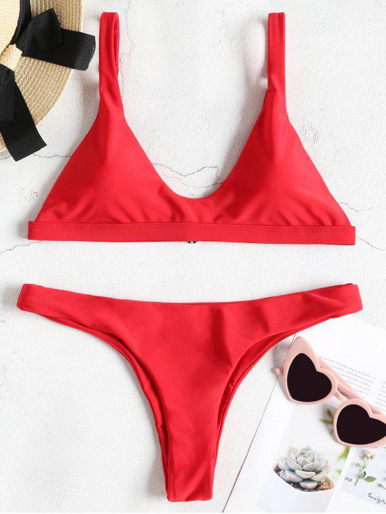 outfit Padded Bralette Bikini Set - LOVE RED S