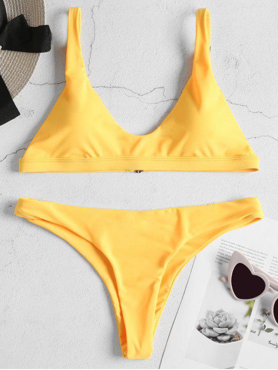 shops Padded Bralette Bikini Set - BRIGHT YELLOW S