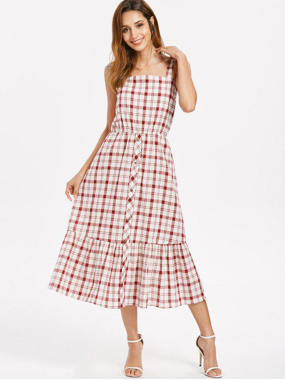 affordable Button Embellished Plaid Dress - RED WINE XL