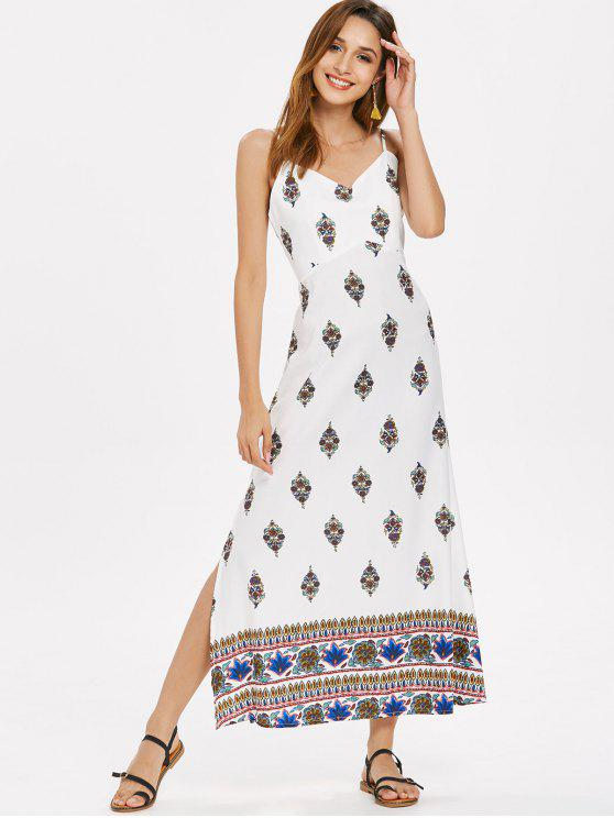 women Slit Printed Cami Dress - WHITE S