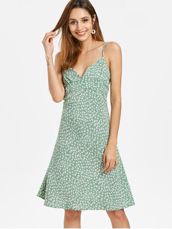 Vestido camisero floral con cremallera lateral - Verde M