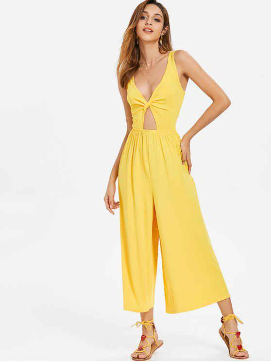 5d6fb1a2c3ff 31% OFF  2019 Twist Front Wide Leg Jumpsuit In YELLOW