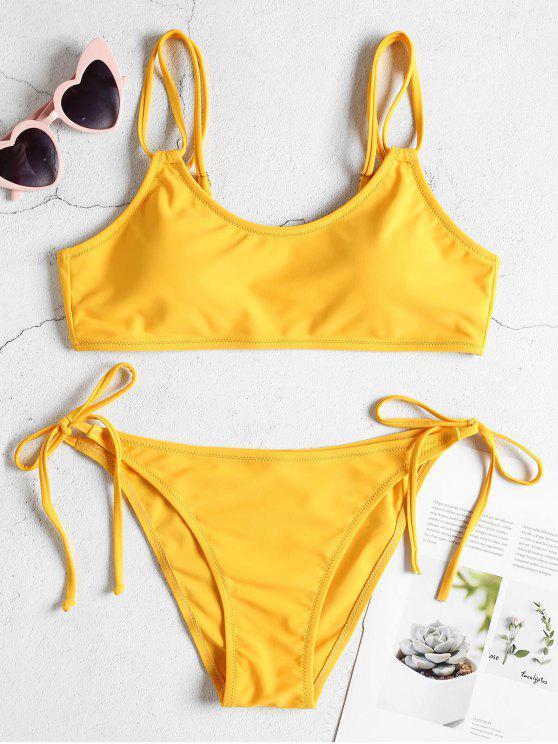 unique Dual Straps Tie Side Bikini Set - BRIGHT YELLOW L