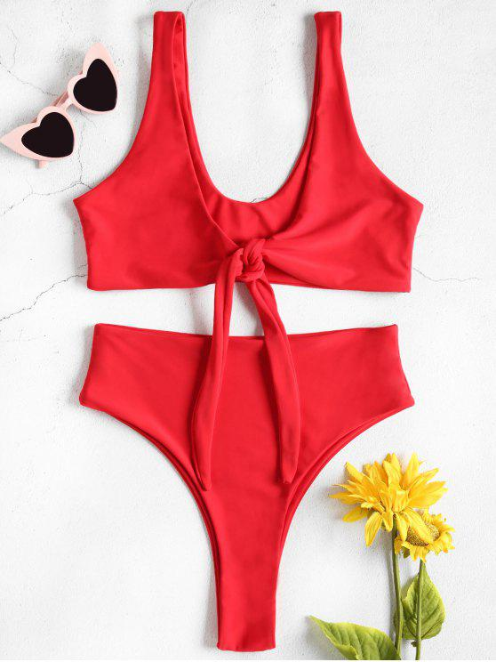 women High Waisted Front Tie High Leg Bikini - RED L