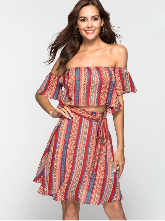 women's Tribal Print Chiffon Two Piece Dress Matching Set - MULTI L