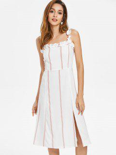 Striped Ruffle Straps Dress - White S