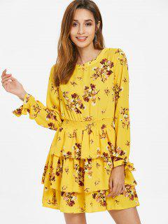 Floral Print Smocked Tiered Dress - Yellow M
