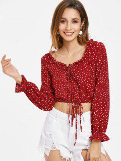 Drawstring Dots Top - Cherry Red M