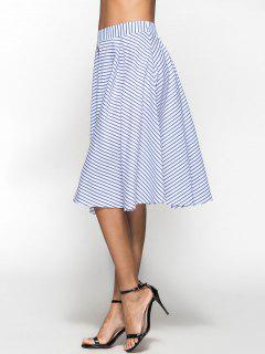 Striped Box Pleat Midi Full Skirt - Blue L