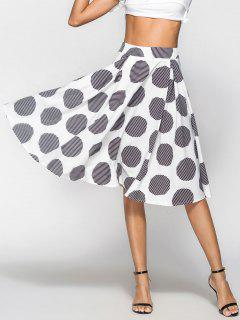 Striped Box Pleat Polka Dot Midi Full Skirt - Multi L