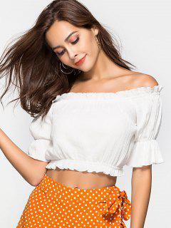 Ruffle Off The Shoulder Crop Top - White M
