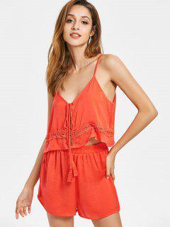 Crochet Trim Cami Shorts Set - Bright Orange S