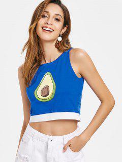 Camiseta Sin Mangas Con Estampado De Frutas - Azul M