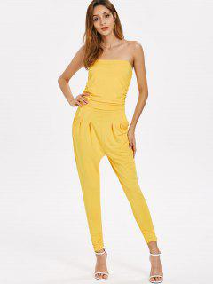 Ruched Strapless Jumpsuit - Yellow M