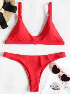 Padded Bralette Bikini Set - Love Red M