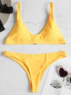Gepolsterter Bralette Bikini Set - Helles Gelb S