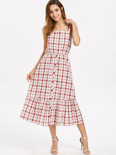 Button Embellished Plaid Dress - Red Wine M