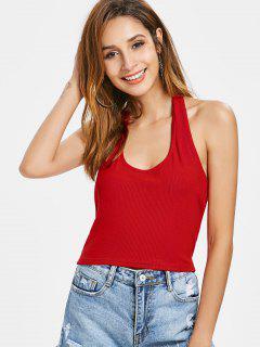 Camiseta Sin Mangas Acanalada Con Tirantes Halter - Rojo S
