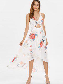 Robe Asymétrique Florale Nouée Devant  - Blanc M