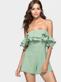 Ruffle Off The Shoulder Romper - Frog Green M