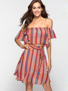 Tribal Print Chiffon Two Piece Dress Matching Set - Multi S