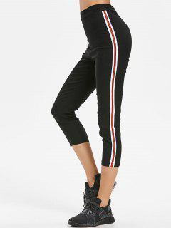 Stripes Patched Capri Pants - Black M