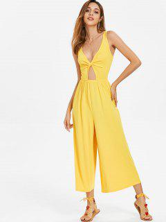 Twist Front Wide Leg Jumpsuit - Yellow L