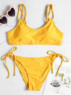 Dual Straps Tie Side Bikini Set - Bright Yellow L