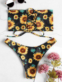 Sunflower Lace-up Bandeau Bikini Set - Black L