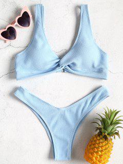 Low Rise Textured Twist Bikini Set - Light Sky Blue S