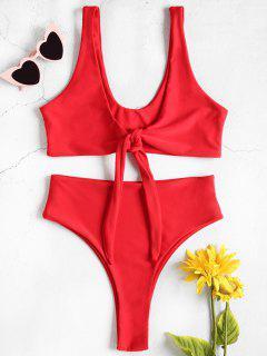 Hohe Taille Vorder Riemchen Hohes Bein Bikini - Rot S