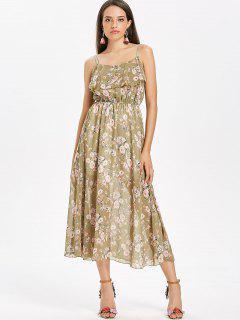 Robe Mi-Longue En Mousseline Fluide à Imprimé Floral  - Kaki Léger
