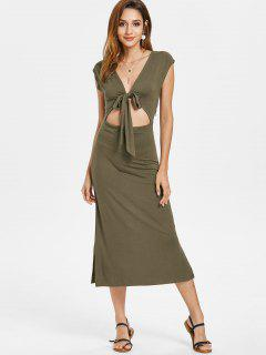 Tie Front Cut Out Midi Dress - Army Green S