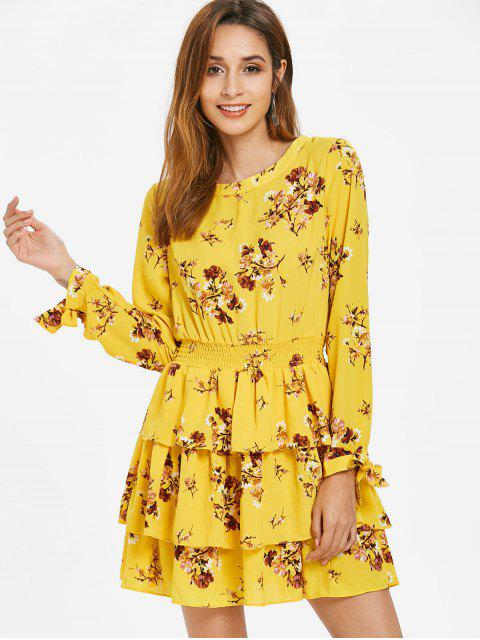 fashion Floral Print Smocked Tiered Dress - YELLOW M Mobile